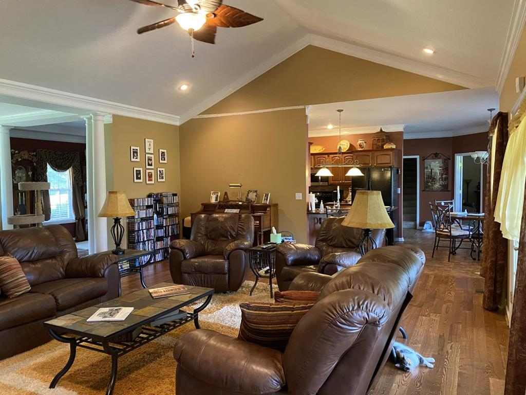 Vaulted ceiling in family room